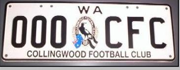 Collingwood FC WA Numberplates